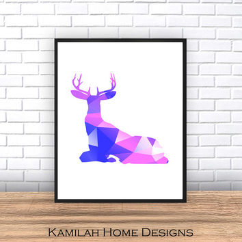 Geometric Triangle, Printable Art, Deer Geometric Pattern - Modern Wall Art Nursery Home Decor, Digital Print Instant Download