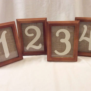 Wooden rustic table numbers 5 x 7 frame burlap center wedding or event