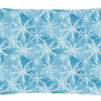 Watercolor Snowflake on Blue Canvas Fabric Decorative Pillow BB7553PW1216