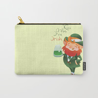 Kiss Me I'm Irish with cute chibi cartoon Leprechaun Carry-All Pouch by jera