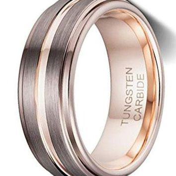 CERTIFIED 8MM Espresso Brown Brushed Thin Rose Gold Groove Tungsten Wedding Band.