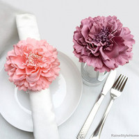 10 Pieces Set.Romantic Coral Dusty Pink Large Peonies Napkin Rings Set