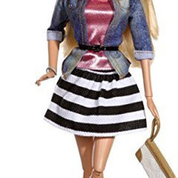 Barbie Style Doll, Jean Jacket and Black/White Skirt