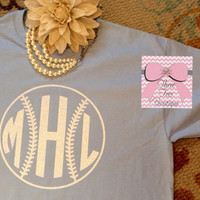 Monogram Softball or Baseball T-Shirt Monogram TShirt Glitter Softball or Baseball T-Shirt Monogram Tee Shirt Monogrammed Gifts
