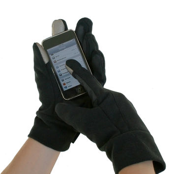 Evelots Comfy Fleece E-Touch Black Gloves - Large/X-Large
