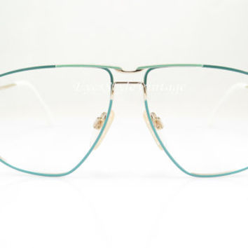 Vintage Eyeglasses ,  Puma , Green Mint Gold  , W.Germany , Sport , Aviator , 1970s , Hipster , NOS