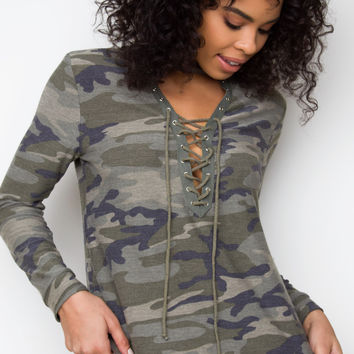 Honest Lace Up Camo Top
