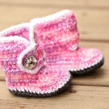 DCCK8X2 Crochet Baby Booties - Baby Boots - Pink Purple White Baby Shoes Grey Bling - Bling Ba