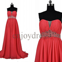 Custom Red Beaded Long Prom Dress Formal Evening Gowns Wedding Party Dresses Formal Party Dresses Bridesmaid Dresses 2014 Cocktail Dress