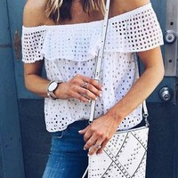 White Cut Out Lace Boat Neck Sweet T-Shirt