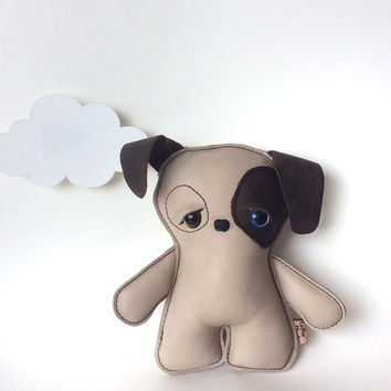 Stuffed dog, puppy plush, nursery or home decor, for kids, for her, toy pup by Leather Monster for Etsy