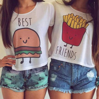 Women t shirt fashion new cartoon best friend print O-neck basic ladies loose tops size S M L high quality female summer A521