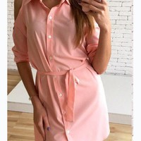 New Women Pink Sashes Buttons Polo Neck Casual Mini Dress