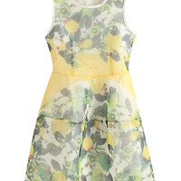 Yellow Fruit Print Sleeveless Mini Dress