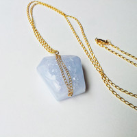 Blue Periwinkle Druzy Necklace -14k Flat Gold Fill Chain, Free Form Semi Precious Chalcedony Gemstone
