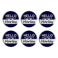 Harley Hello My Name Is Plastic Resin Button Set of 6