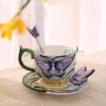 European Style Ceramic Hand-painted Butterfly Coffee Cup 3D Colored Enamel Porcelain Mug with Saucer and Teaspoon