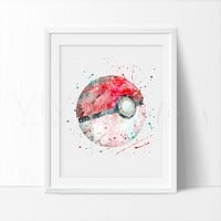 Pokeball, Pokemon Go Watercolor Art Print