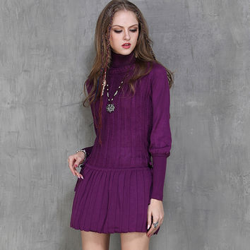 Fashion Women Dresses Warm Turtleneck Lantern Long Sleeve Boho Pleated Dress