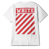 Off White T Shirt Diagonal Stripes Rock Locomotive Tee Hipster T-shirt Brand Clothing Pokemon Go Streewear Tshirt Fear Of God