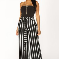 Heather Striped High Rise Pants - Black/White