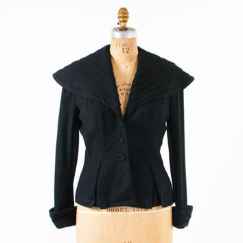 Vintage 1940s Lilli Ann BLAZER / 40s - 50s Black Pleated Wool Shawl Collar Jacket M