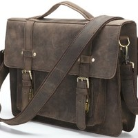 Men's Crazy Horse Leather Small Shoulder Bag Coffee