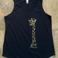 Black and Gold Giraffe Shirt, V-neck Tank Top, Yoga Clothes, Yoga Shirt, Boho