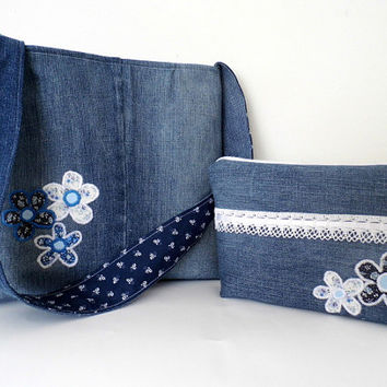FREE SHIPPING! Romantic denim tote and cosmetic bag, Mother's Day gift idea