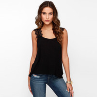 Black Lace Embroidered Tank