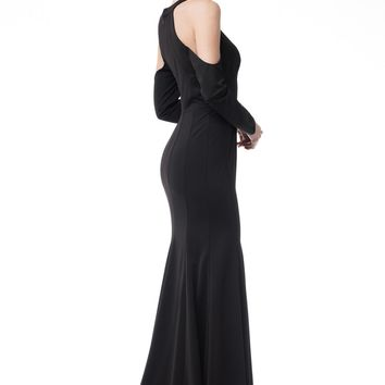 Black formal dress with sleeves   BC#CP61363