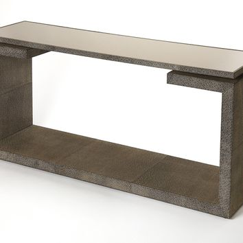 Pruitt Brown Leather Console Table