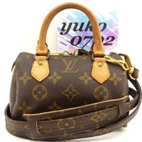 r61115 Auth LOUIS VUITTON MINI SPEEDY Monogram Canvas Pouch 2 Way Handbag M41534