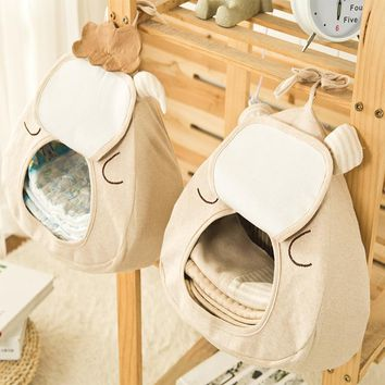 Cotton Baby Bed Hanging Nursery Bags Storage Bag Newborn Crib Toy Diaper Stacker For Playard Crib Bedding Organizer Twins Baby