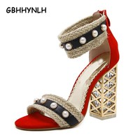 GBHHYNLH women's sandals Summer shoes Gladiator Sandals Women High Heels Sandals Party Wedding Shoes Ladies Sandals LJA128