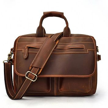 Men Thick Crazy Horse Leather Briefcase Vintage Business Laptop Bag Real Leather Man Work tote Messenger Shoulder Bag