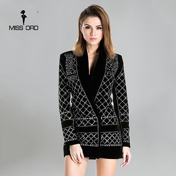 V-neck long-sleeved geometric studded velvet blazer dress