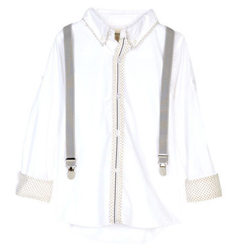 Vierra Rose - Boys Hudson Suspender Shirt, White/Polka Dot - 6Y