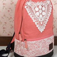 Fashion Pink Lace Backpack with Crochet from styleonline