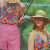 granny square top halter Vintage pattern PDF Instant Download crochet 70s halter top knitting supplies epsteam knitting pattern flowers pdf