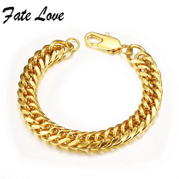Fate Love Classic Metal Gold Plated Link Chain Men Ks946