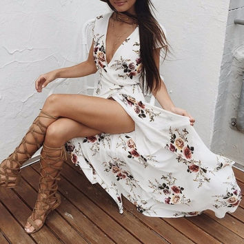 Cindee Lane Casual Floral Print Maxi Dress