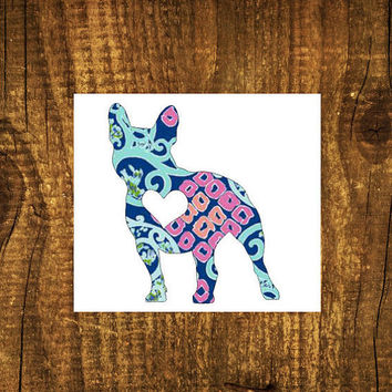 LILLY PULITZER French Bulldog Heart Decal | Bulldog Mom Decal | Dog Mom Decal | Dog Dad | Dog Family Decal | Love Sticker | Love Decal | 202