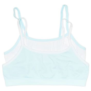Girls 2-Pack Seamless Performance Crop Bra (White/Blue)