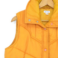Nature's Calling Puffer Vest • 1970s Orange Quilted Vest • Down Style Vest • 70s Quilted Puffer Vest