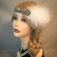 Native American Gatsby Art Deco 1920's style headpiece headband Circle Multi-Color White Feather Dance Special Occasion Dress Wedding (716)