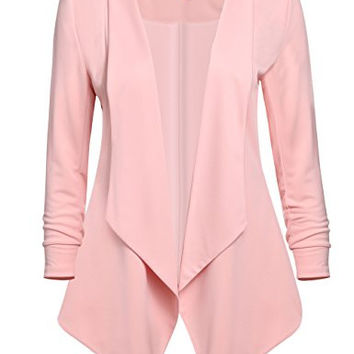 Women's Flowy and Flirty Open-front Blazer in Blush