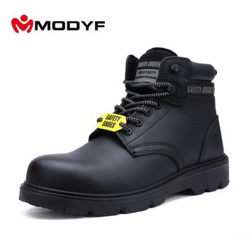 Modyf Men Army Winter Boots Oxford Steel Toe Work Safety Shoes Military Outsole High Quality Leather Footwear Protective