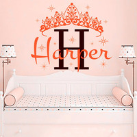DIY Princess Crown Custom Name Crown Decals Wall Sticker For Baby Nursery Girls Bedroom -Home Decor Fashion Design Mural D-82