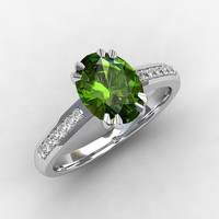 Peridot ring, diamond engagement, white gold, yellow gold, peridot engagement ring, solitaire, oval cut, vintage style, pave